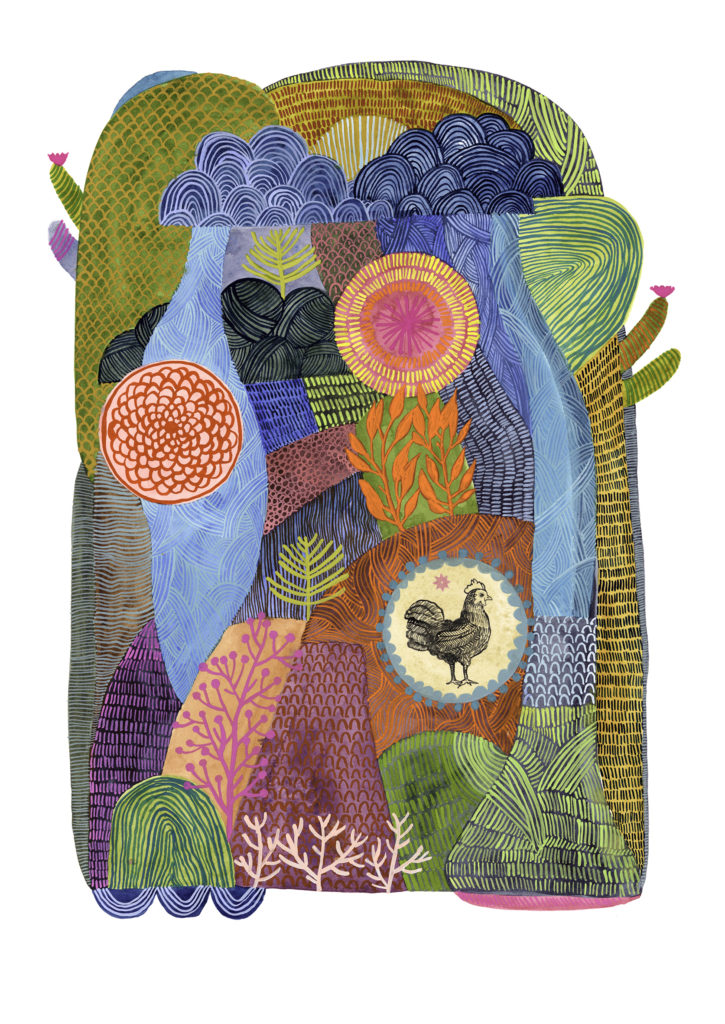 su wolf hen pattern painting