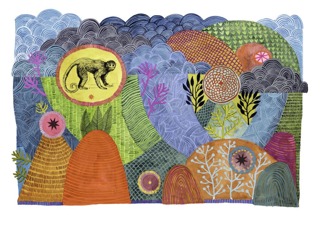 su wolf monkey pattern painting
