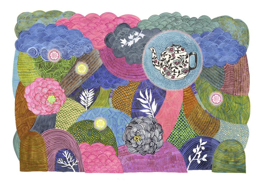 su wolf teapot pattern painting